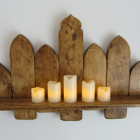 66 cm wide Moroccan arch reclaimed wood floating shelf Led candle holder