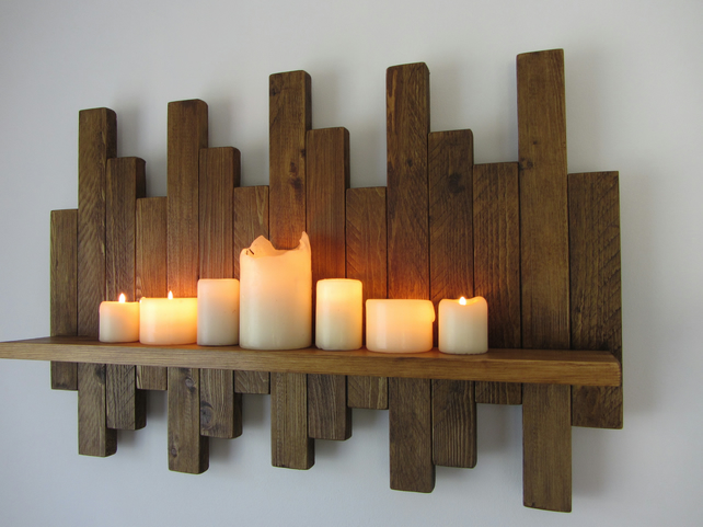 72 cm reclaimed wood floating shelf sconce led candle stand wall art