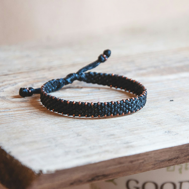 Men copper bracelet. Equilibrium friendship bracelet. Adjustable, waterproof.