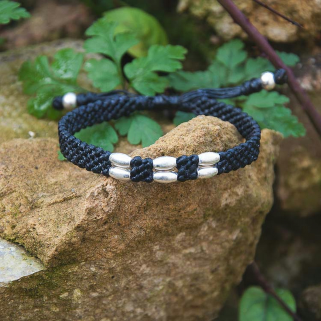 Silver mens bracelet. Black and custom colours. Vegan, waterproof.