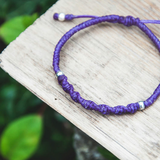 Purple friendship bracelet for her. Custom colours. Waterproof, adjustable.