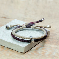 Initial couple bracelets. Handmade of cord and Sterling silver. Waterproof .