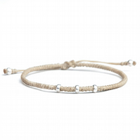 Women men friendship bracelet. Adjustable waterproof. Silver and knots.