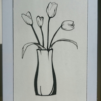 Hand drawn tulips mini A7 greetings card