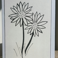 Hand drawn daisies mini A7 greetings card