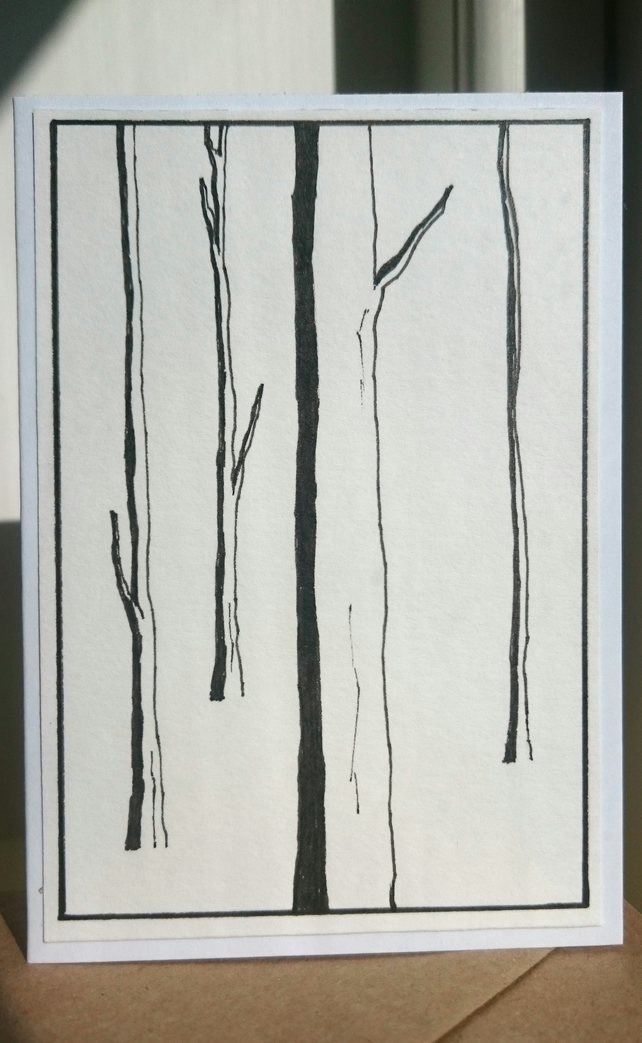 Hand drawn trees mini A7 greetings card