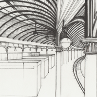 Newcastle Central Station limited giclee print from original pen drawing