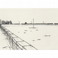 Field from the Platform landscape limited edition print from pen drawing