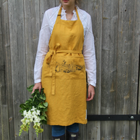 Garden Apron in Sunflower Yellow Linen