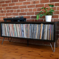 Mid Century Modern vinyl storage unit with hairpin legs and charred finish