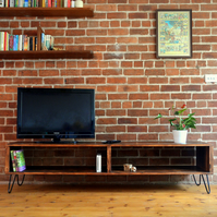 Large Media unit with hairpin legs - Mid Century Modern design