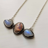 Moonshadow - Rainbow Moonstone and Mexican Cantera Fire Opal Necklace