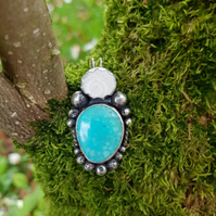 Whitewater Turquoise and Shiva Eye Seashell Sterling Silver Pendant Necklace