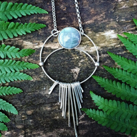 Labradorite Moonphase Necklace - fringe sterling silver moon pendant