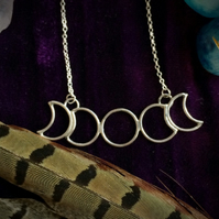 Sisters Of The Moon - miniature extra small moon phases pendant necklace