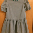 Green and white 'school dress' with rick-rack trimmed neck for age 5