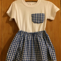 Blue check skirt and t-shirt with matching pocket age 2 years