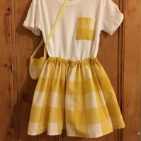 Yellow check skirt with matching t-shirt and bag for age 4 to 5