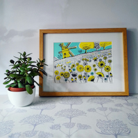 Dandelion Windmill, original hand-pulled screen print
