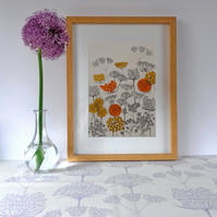 Verbena Border (Orange), original hand-pulled screen print
