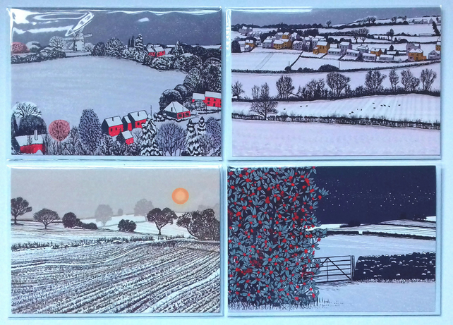 Festive snow scenes greetings cards