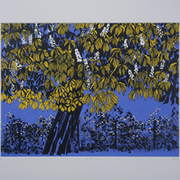 Horse Chestnut Blue, original hand-pulled screen print