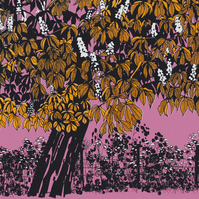 Horse Chestnut Pink, original hand-pulled screen print