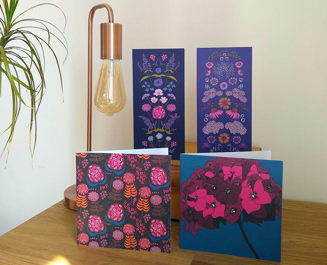 Set of 4 flower-themed greetings cards