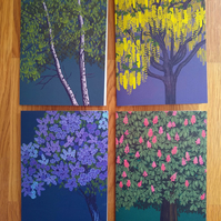 Set of 4 blank greetings cards featuring trees