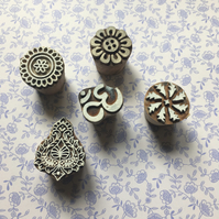 Set of 5 patterned wooden block print blocks