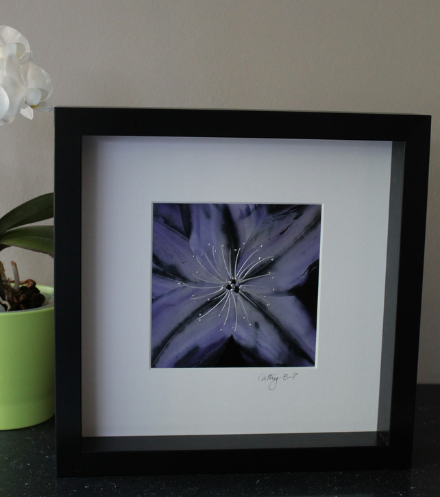 Original encaustic wax flower in lilac and silver, mounted and box framed