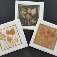 Poppy seed head pattern linocut monoprint greetings cards - Set of 3