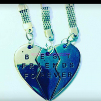 BEST FRIENDS FOREVER THREE SPLIT HEART KEY RINGS - SILVER OR GOLD