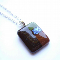 Psychedelic Men's Fused Glass Pendant in Brown, Green, Black and Blue Swirls