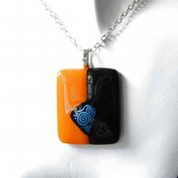 Men's Orange & Black Psychedelic Swirls Pendant in Fused Glass, Unisex