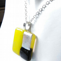 "Black Yellow & Silver Blocks Fused Glass Men's or Unisex Space Age Pendant 25"" L"