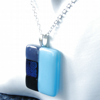 "Block Colour Geometric Fused Glass Pendant Black, Blue Swirls, Unisex 25"" Chain"