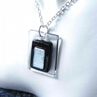 "Men's Black & White Monochrome Brutalist Pendant Fused Glass 25"" Trace Chain"