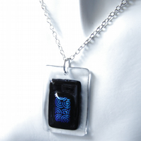 "Men's Geometric Fused Glass Pendant Black with Blue Swirls 25"" Trace Chain"