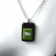 "Brutalist Black Olive and Silver Fused Glass Men's or Unisex Pendant 25"" L"