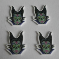 4 x Disney Zombie Maleficent Flatback Planar Resin Embellishment Decoden