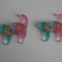 2 x Large Resin Blue Pink Glitter Clockwork Cats Cabochon Decoden Embellishment