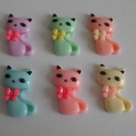 6 x Siamese Cat Resin Cabochon Decoden Embellishment Decoden