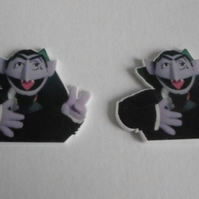 2 x Sesame Street The Count Flatback Planar Resin Embellishment Decoden