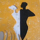 ELAGANT BALLROOM DANCERS. Hand cut and hand painted wooden picture.