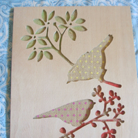 SPOTTY BIRDS.  Hand cut wooden picture inlain with hessian.