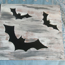 VINYL BATS.  Hand cut and hand painted bats.  Inlaid with LP vinyl.