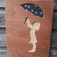 GIRL WITH UMBRELLA. Hand cut wooden picture.