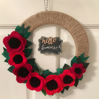 Handmade felt poppy wreath with mini chalkboard