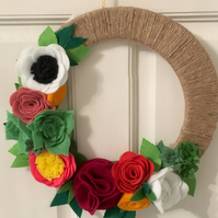 Handmade Felt Flower and Twine Wreath